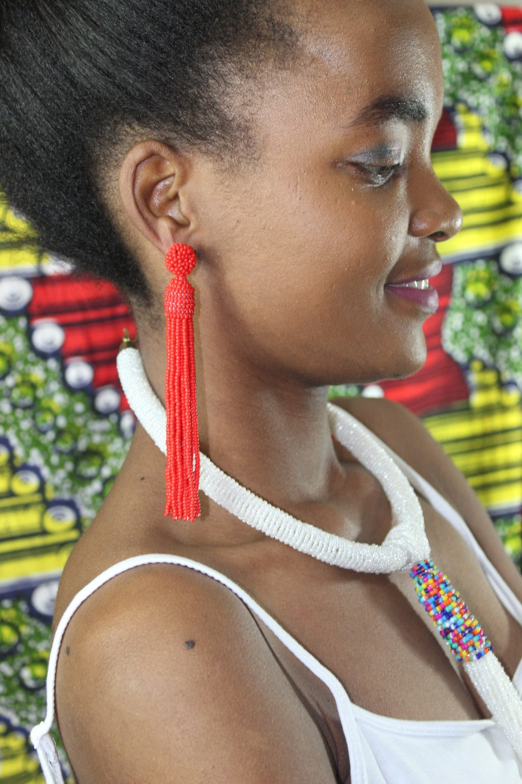 Red African tassel earrings