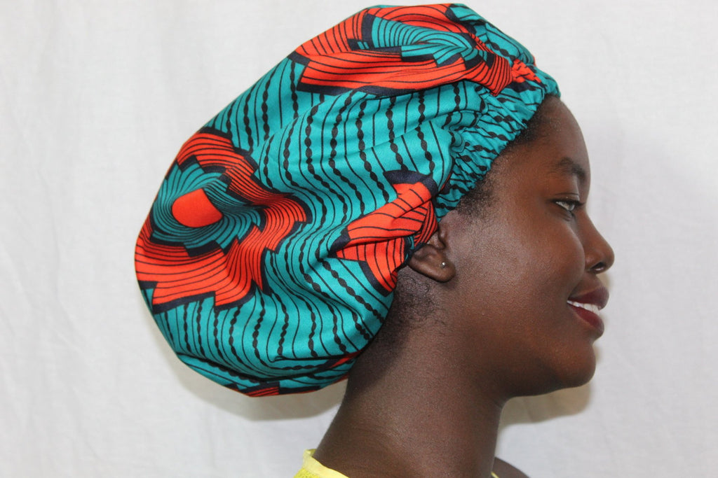 African print Kids Blue hair bonnet