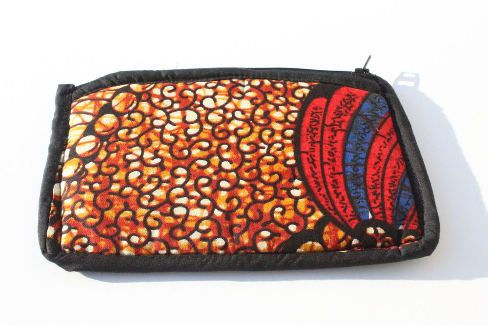 African print Red coin purse