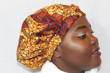 Load image into Gallery viewer, African wax print brown silk hair bonnet
