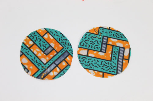 Blue Fabric African style earrings