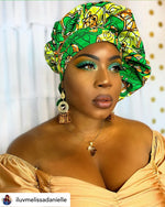 African print satin lined head wrap and bonnet