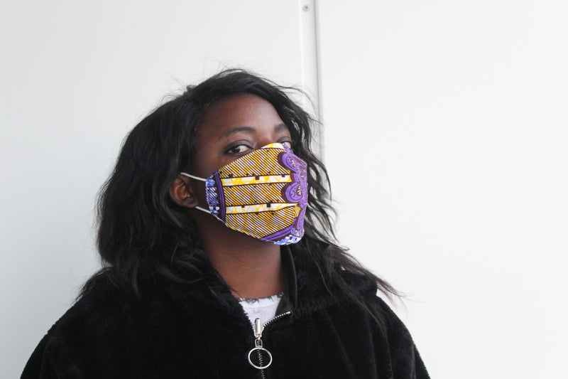 Purple re-usable fabric mask