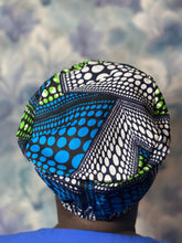 Load image into Gallery viewer, Blue Surgical Ankara cap.