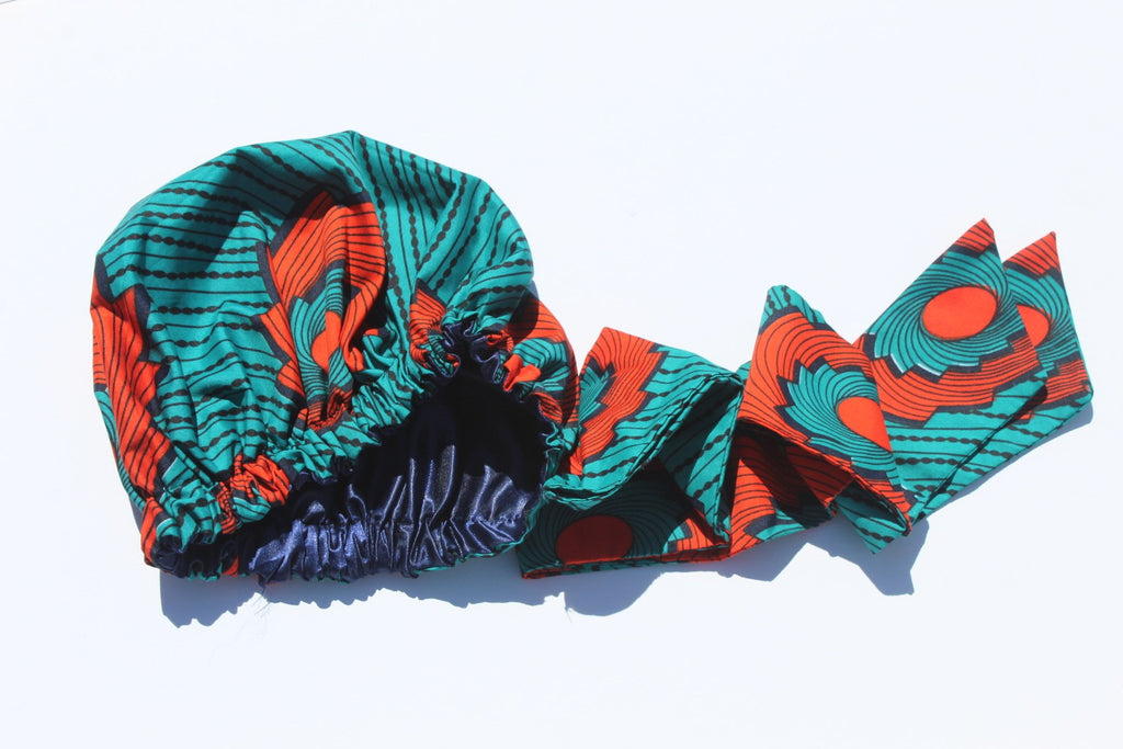 Combined Silk satin lined & African print head wrap.