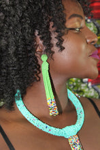 Load image into Gallery viewer, Green beaded earrings