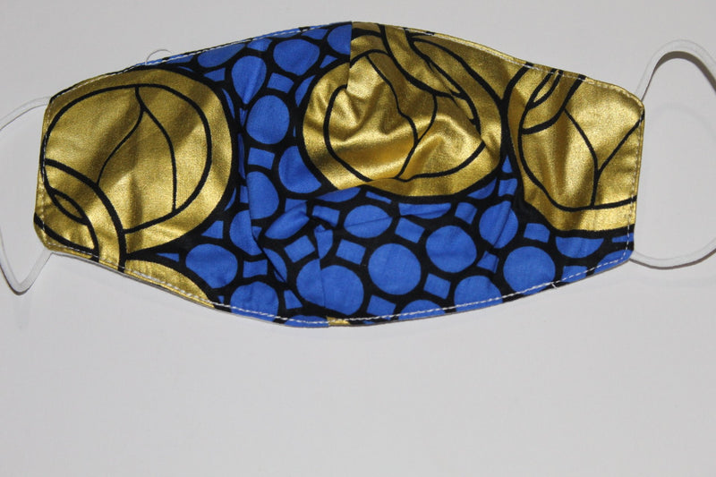 Blue-gold African fabric face mask