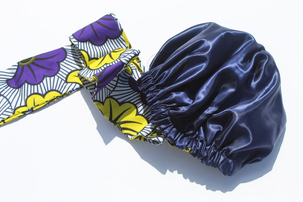 African print and satin lined head wrap
