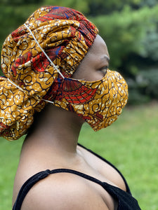 Brown African print large size fabric mask