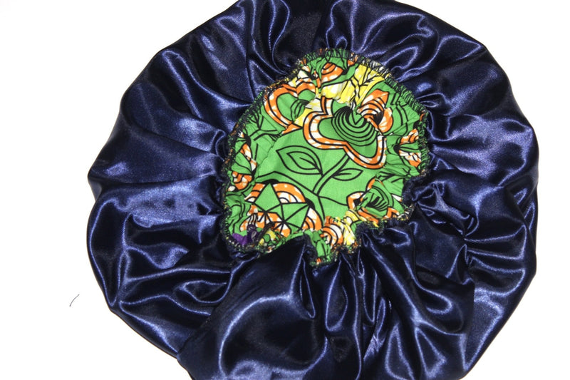 large size green African wax print bonnet