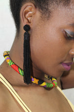 African beads tassel earrings