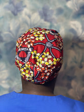 Load image into Gallery viewer, Red African print cap/scrub hat/chef hat