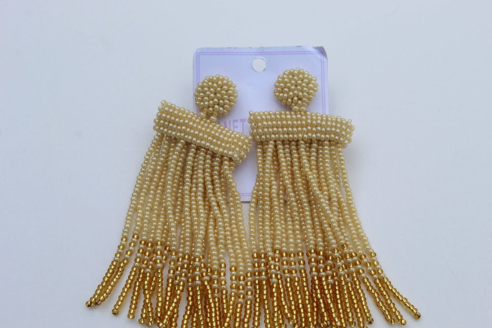 Gold mixed African beaded earrings