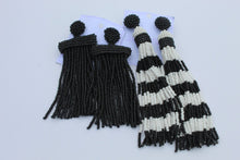 Load image into Gallery viewer, Black / white tassel earrings