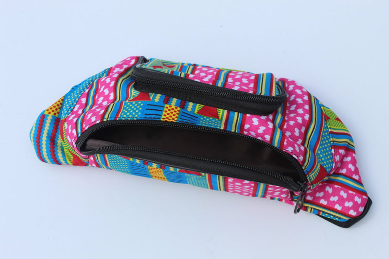 Blueish unisex African print fanny pack