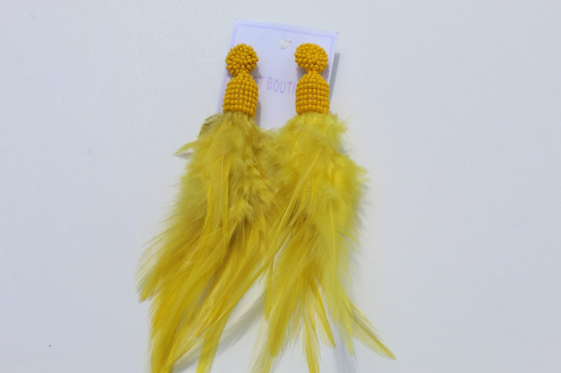 Feather like African print earrings