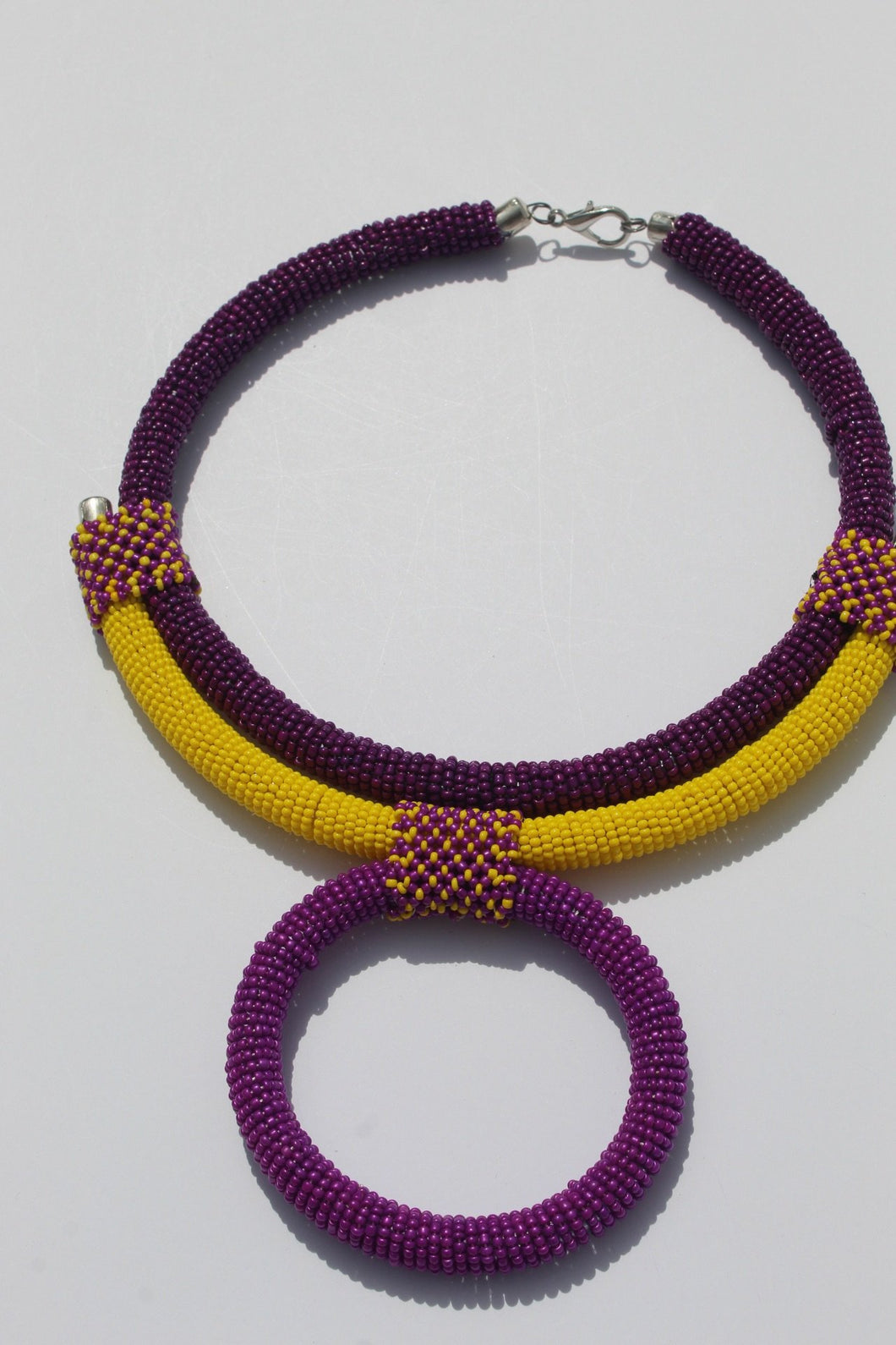 Purple African beaded necklace