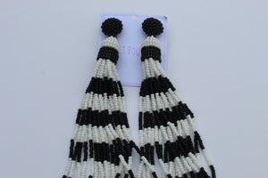 Black / white tassel earrings