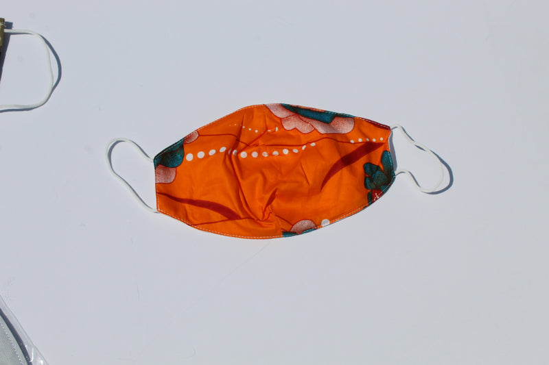 Orange washable& reusable mask with filter