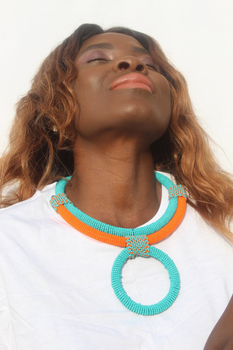 African beaded necklace for women
