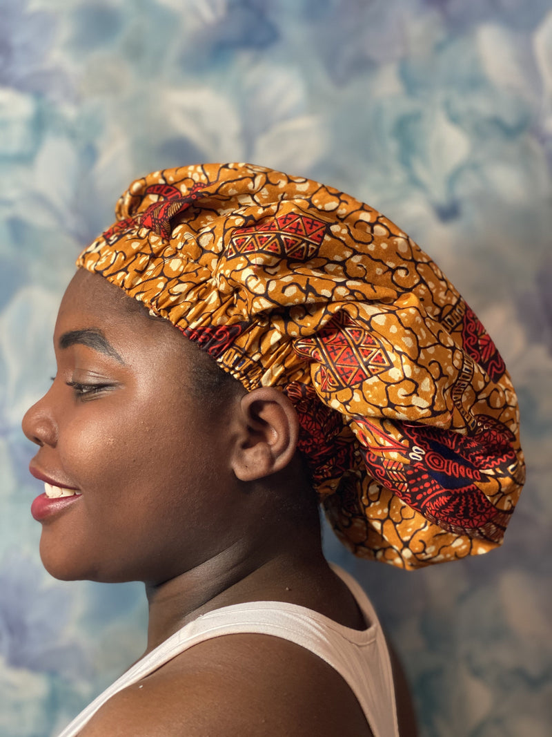 African wax print brown silk hair bonnet