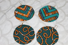 Load image into Gallery viewer, African print colourful earrings/hoops