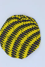 Load image into Gallery viewer, Yellow-purple kitenge hairbonnet