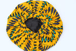 Orange African print bonnet for women