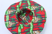 Load image into Gallery viewer, Red African print beach hat/fabric hat
