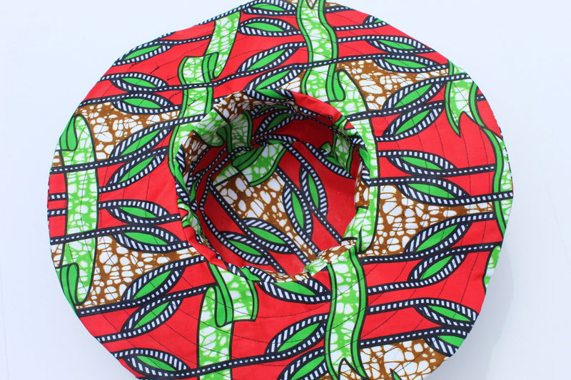Red wide brim ankara hat