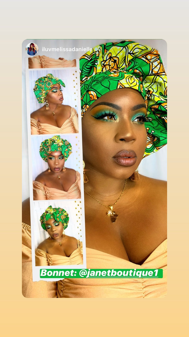 African print satin lined head wrap