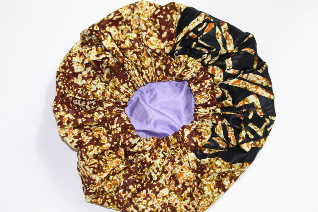 Brown Ankara bonnet