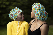 Load image into Gallery viewer, African print Blueish/green hair bonnet