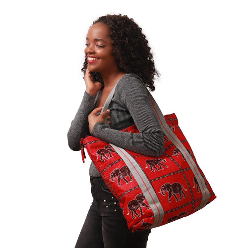 Animal print fabric bag for every day busy woman