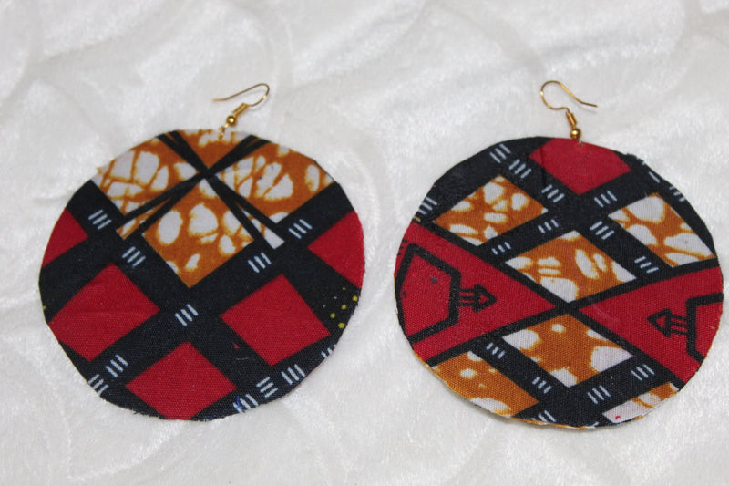 Red-velvet African fashion earrings