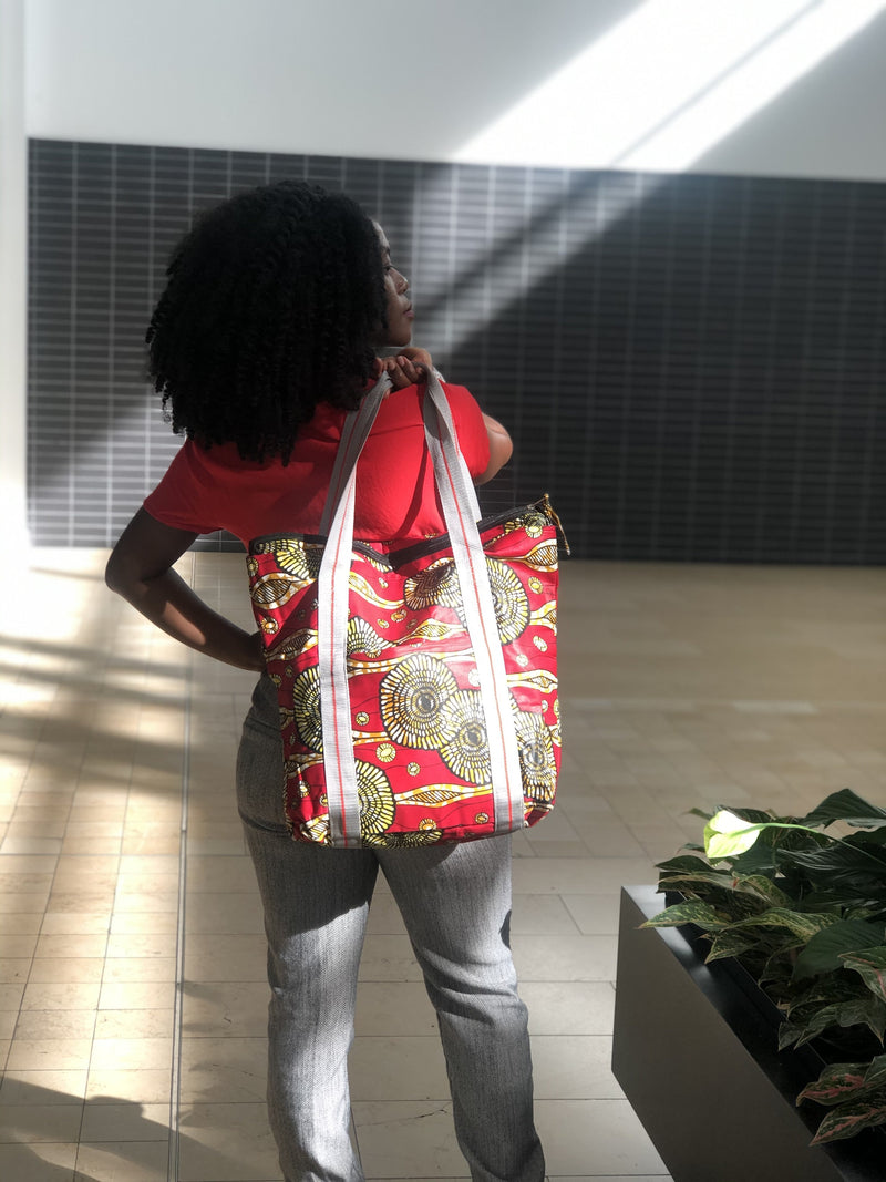 Red fabric bag
