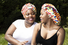 Load image into Gallery viewer, African print satin lined head wrap and bonnet