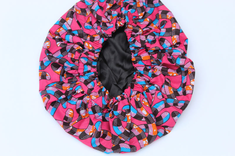 African print Purple sleeping hair bonnet