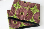 Green brown African print snood scarf