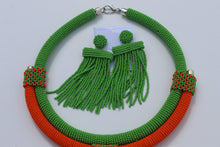 Load image into Gallery viewer, African beaded green necklace