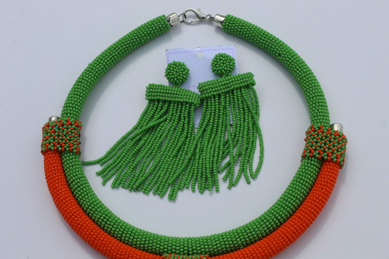 African beaded green necklace