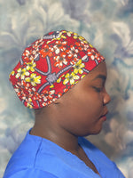 Red African print cap/scrub hat/chef hat
