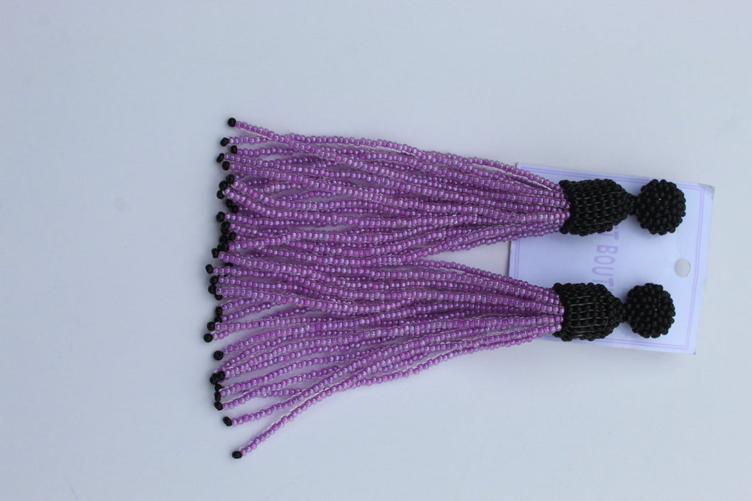 Purple Beaded tassel earrings