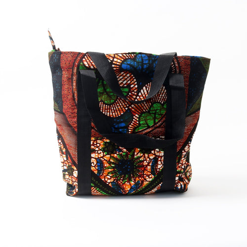 Canvas and fabric handbag