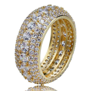 18K GOLD DIAMOND RING - 5 ROW