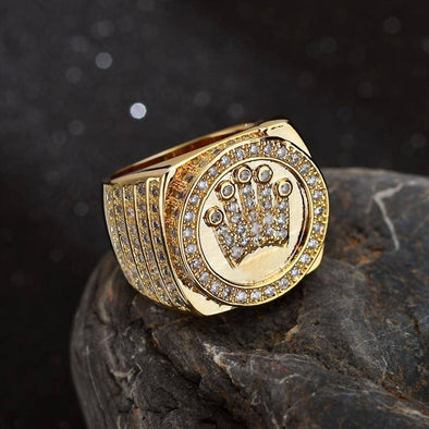 18K Gold Crown King Ring