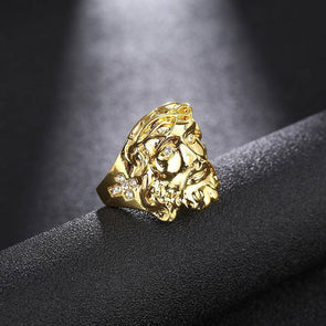 14K Gold Jesus Face Ring