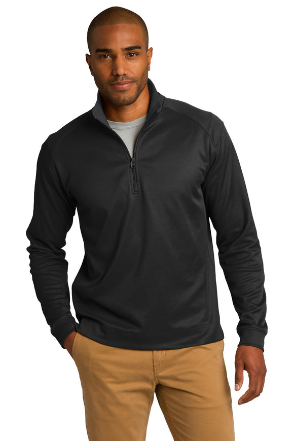 Port Authority® - Heavyweight Vertical Texture 1/4-Zip Pullover in Black/Iron Grey. K805