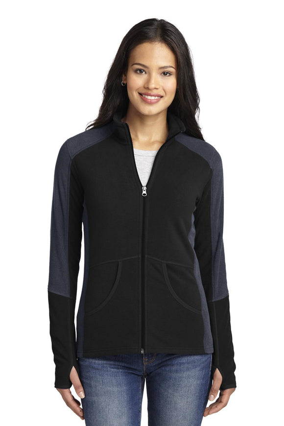 Port Authority® - Ladies Colorblock Microfleece Jacket in Black/Battleship Grey.  L230