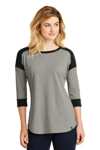 New Era® - Ladies Heritage Blend 3/4-Sleeve Baseball Raglan Tee in Black/Rainstorm Grey Heather. LNEA104